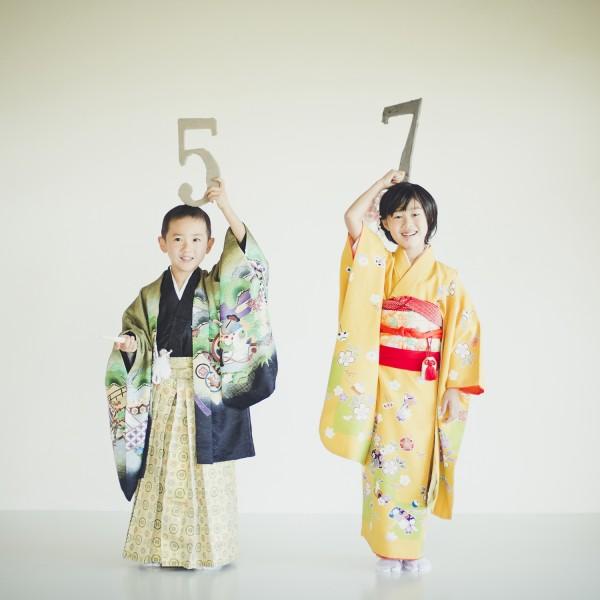 七五三撮影 7歳女子5歳男子