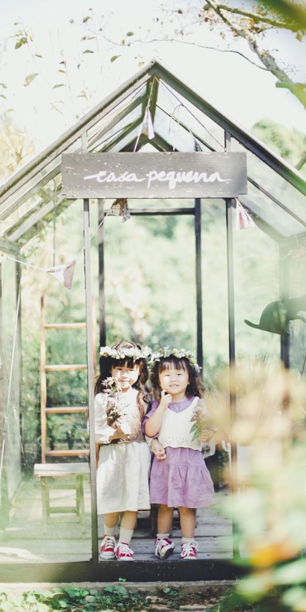 お庭でナチュラルに撮影 子ども写真